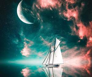 Dream, moon, and night image