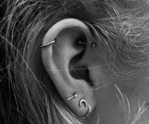 beautiful, black and white, and helix piercings image
