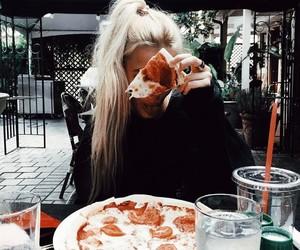 food, girl, and pizza image