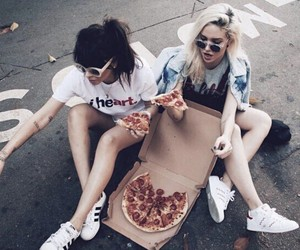 pizza, friends, and girl image