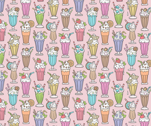 background, milkshake, and pattern image