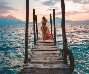 wanderlust, sunset sky, and lake photography image