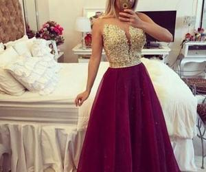 prom gown, burgundy dress, and burgundy gown image
