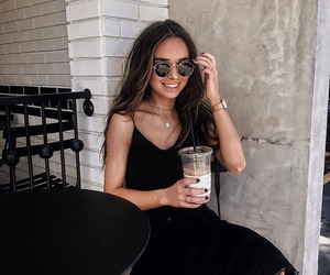 brunette, ice coffee, and indie image