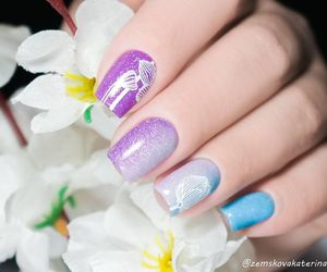 fancy, nail art, and flower nails image