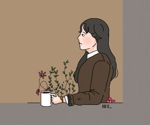 coffee, flowers, and think image