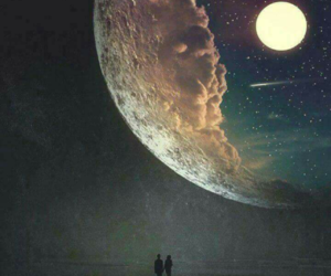 moon, love, and night image