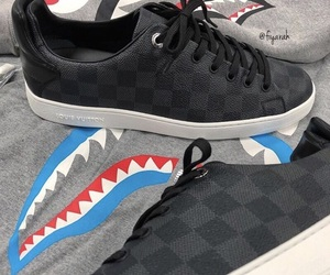 shoes sneakers, fashion style, and louis vuitton lv image