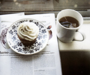 cupcake, tea, and cake image