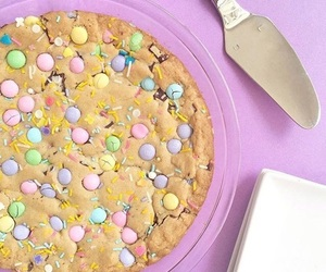 cake, m&m's, and cookie image