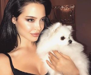 girl, beauty, and dog image