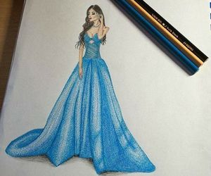 blue, style, and fashion sketches image