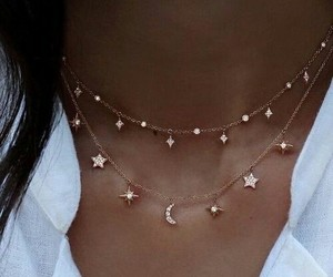 choker, moon, and girl image