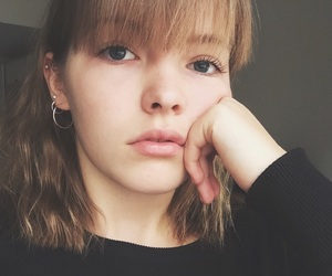 bangs, blonde, and blue eyes image