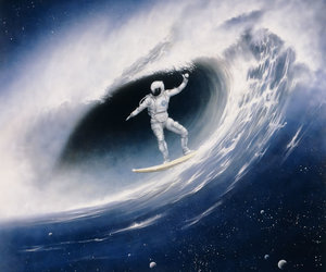 astronaut, stars, and surf image