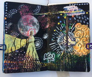 acrylic paint, art journal, and artwork image