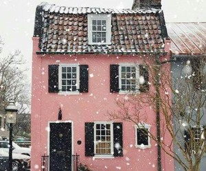 building, pink, and home image