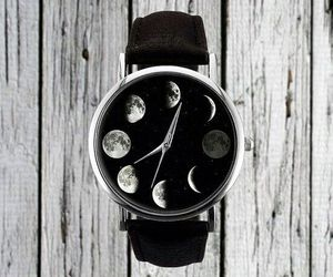 black, moon, and watch image