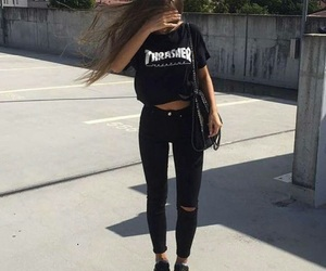 black, outfit, and thrasher image