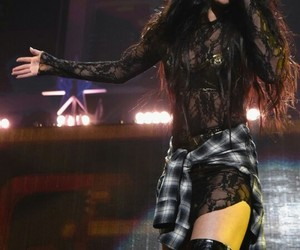 event, long hair, and on stage image