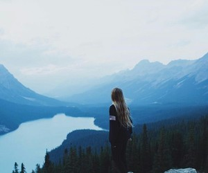 blue, girl, and nature image