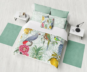 blue flowers, etsy, and colorful bedding image