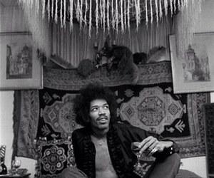 Jimi Hendrix, black and white, and music image
