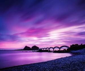 purple, beautiful, and evening image