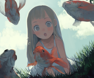 fish, anime, and art image