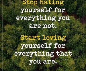 inspiration, stop hating, and love yourself image