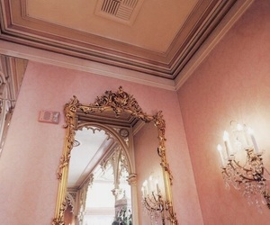 pink, mirror, and gold image