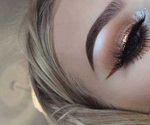 blond hair, eyes, and perfect eyebrows image
