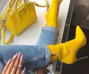 yellow, fashion, and boots image