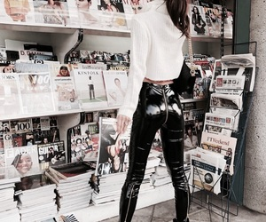 fashion, girl, and leather image