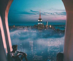 couple, sky, and city image