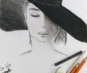 black and white, charcoal, and hat image