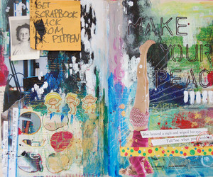acrylic, art journal, and Collage image