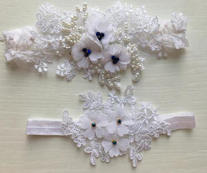 white lace garter, etsy, and wedding garters image