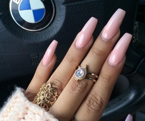 nails, gold, and bmw image