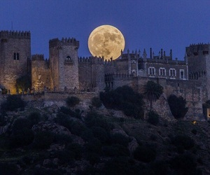 castle, moon, and night image