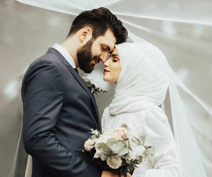 couple, wedding, and muslim couples image