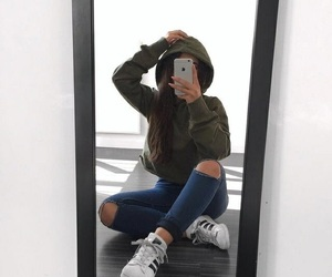 girl, hoodie, and mirror image