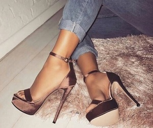 fahsion, gold, and heels image