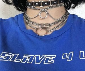 blue, chokers, and goth image