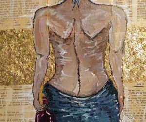 acrylics, mixed media, and woman image
