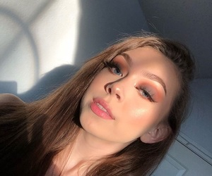 beauty, brown hair, and eyeshadow image