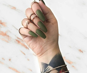 nails, tattoo, and green image