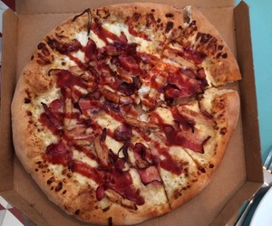 bacon, dominos, and food image