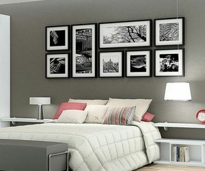 bedroom, decoration, and grey image