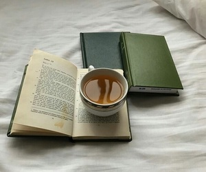 books, tea, and green image